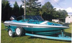 1995 17' Canjun Adventure Boat, 115 Johnson bored out to 140, Fish/Ski Boat, Fish/Depth Finder, Trolling Motor, Seats 5, Plenty of Storage, Matching Trailer.