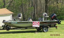 17 foot, 40 hp motor with hydraulic lift, life jackets, throw bag, storage, live well, bilge pump, electric start, 2 regular seats, 2 raised fishing seats, trolling motor with 2 different mounts... everything included to hop in and start fishing... I can