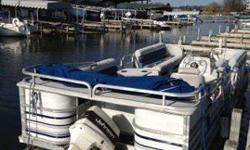 1995 24 feet. Manitou Sundeck Pontoon Boat w/70hp Johnson motor; Runs well; No trailer. New stereo and speakers, new prop, new electrical, and new batteries. Blue bimini top. Life jackets included. Sliding side ladder, which is convenient for swimmers.