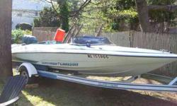 1981 GLASTRON CARLSON SKI MACHINE WITH 1989 200 HP MARINER MOTOR, MATCHING GLASTRON TRAILER, 70 MPH WITH RIGHT PROP, RUNS GREAT, TOO FAST FOR THE MISSES, WILL TRADE FOR AUSTIN HEALEY 3000, JAGUAR XKE, MGA TRIUMPH TR3 TR4 TR6, SUNBEAM TIGER, PORSCHE 356,