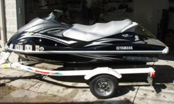 2008 Yamaha vx 110 Deluxe, black color personal watercraft. 4 cylinder, 4 stroke, fuel injected engine. 110 hp, under 200 hours. Has reverse. Seats 3. Jet ski can pull a tube or skier. Digital speedometer, tachometer, and fuel guage. Comes with one place