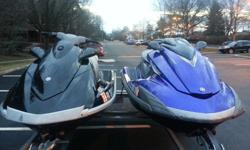 Great pair of powerful, reliable Yamaha waverunners with about 62hours on each one. The Blue FZS SHO(Super High Output) is an 1800cc supercharged waverunner that quickly gets up to 68mph!!! The BlackVX Deluxe is also a powerful 1300cc that can do about