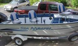 1995 16ft boat with 40 horse Johnson tiller motor and matching Sea Nymph trailer with spare tire. MANY extras