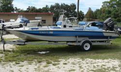 150HP Johnson, Roadmaster galvanized trailer single axle with new tires, Jack plate and trolling motor. This is a Texas Bay boat.