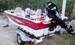 "2005 Smoker Craft 151 Resorter with 2005 Mercury 40hp 4-stroke engine. ""Karavan"" trailer, fish finder, life jackets, NEW cover, and accessories. Aluminum V, power trim.Excellent Condition; professionally serviced; always washed after EVERY Trip ! All"