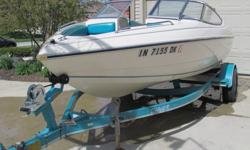 This boat is in very good conditon and runs great. The trailer is included. It is an inboard/outboard with an open bow.