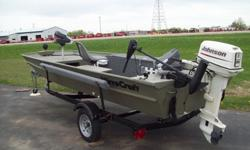 We have a great 14' Mirrocraft jon boat with a 25 Johnson feel free to stop in any time between 8