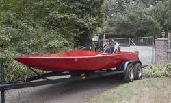 Has AC nutter 355 chev with v drive and tandem axle trailer. Has bubbles in 18 year old paint. 14 hours on engine that cost $5250.00 to build today. Call 360-921-0446