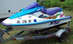WE HAVE FOR SALE A 1995 KAWASAKI JET SKI 750 WITH A TRAILER. THE JET SKI IS IN GOOD CONDITION BUT DOES NEED SOME MINOR REPAIRS.THE JET SKI CAN BE SEEN AT 210 MAIN ST SOUTH BARRE MA 01074 AT JEFFS AUTO WORLD OR CALL 978-257-8334 OR CELL # 774-239-6779 FOR