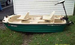 FOR SALE 1999 Bass Hound 9.4 foot tri-hull heavy poly plastic boat. 2 swivel seats, 2 paddles, 2 fish wells. 400 lb capacity. a Minnkota Endura 34 lb thrust motor with battery included. Clear title. Asking $600.00 OBO. More pics upon request. If