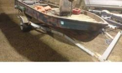 I have a 14 feet mirror craft drift boat. It is painted camo. The trailer is in ok condition but tows great. Asking 600 for the boat and trailer but a little flexable on price. I have a merc motor that goes on it that I can sell separately. 503 545