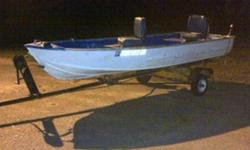 this metal 14ft fishing boat is clean, nice, fresh paint on trailer, boat has lights and electric troll motor, tax paid till 2014, it has a clean title, ready for the water, spare trailer tire. 2 nice seats. asking $600 or best offer. boat in great