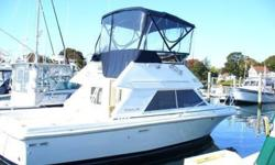 Just 135 hours on this lightly used and well maintained fisher and family boat!Enormous flybridge for a boat this size, plus a large cockpit with transom door and surprisingly open cabin that sleeps 4 adults and a couple of kids in comfort.Deep-V hull