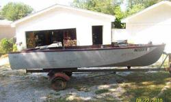 JOHN BOAT14FT LONG WITH TRAILER. WITH LIGHTS, 2 FISHING SEATS AND 3 BENCHES. 3.5 HORSE GAME FISHER MOTOR 2 STROKE RUNS GREAT. GARAGE KEPT.
