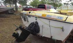 1972 eighteen feet Fiberfoam trihull with a 165 horse Merc Cruiser. The inside of the boat is open; holds up to ten people and will still get on a plain. Great for fishing, skiing, and cruising around the lake. Call, text, or e-mail with questions. Images