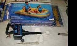 New in Box 3-person Inflatable boat with rechargeavble motor. Cost around $200 in store. Call or text if interested