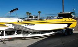 Cat Hull w/ Canopy Windshields, 750 HP 509 BB Chevy, Through Hull Header Exhaust, Bravo One, IMCO Dual Ram Hydraulic External Steering, 4 Blade SS Prop, Billet Swim Steps w/ Ladder, Power Engine Hatch, Dual Batteries w/ Switch, Nice Stereo System w/ Sub
