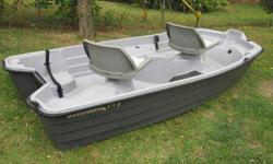 Boat is in very good condition. I kept it covered for the few months I owned it. Previous owner kept it in a garage. I believe it is less than 3 years old, or right around 3 yrs old. It has battery holder and is pre-wired with plugs at the front and back