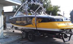 "25' Beautiful yellow and Black. 8.1Liter Indmar 425Hp engine, only 90 hours on the motor! Ballast System, Surf tabs, Flush toilet/sink, 8"" big display monitor, Sonar/Depth Finder, Stereo system/Subwoofer, Tower lights, Pivoting Board Racks, Bimini Top,"
