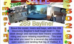 24' Bayliner 289 Discovery Was $72,999 Now $69,999 Hard Top Kitchenette Private room Dinette table converts to birth V Birth with curtain Dual battery with switch Stainless steel accents Full head Pressure water system Dual burner double burner stove