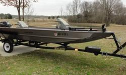 16 foot Alumacraft Crappie DLX fishing boat with trailer, 25hp Yamaha motor and Minn Kota trolling motor. Used very little three tanks of gas or less.