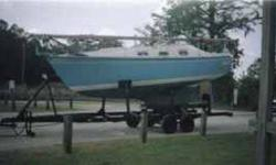 live aboard cruiser in good shape,sleeps 5 new compass, bilge pumps. 3 sails,wheel steer, chart table ,dinette table,5,500 lbs,4' draft clean and dry.Custom built triple axle steel trailer with electric brakes on two axles. Trailer is oversized for this