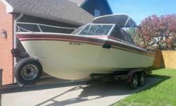 Selling or looking to trade my boat. Runs good only had it out three times this summer it can hold twelve has a 260 mercrusier. i am talking it in friday to get winterized so i can hook it up so you can here it run until then. serious inquires only