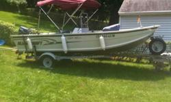 """2004 16'6"""" ALumacraft Yukon with galvanized trailer. 2006 25 HP Yamaha two-stroke motor Bimini Trolling motor, Garmin GPS, Fish Finder, VHF, Livewell Original owner, rarely used, Excellent condition. Contact Mike at Mikebass33@att.net orListing originally"""
