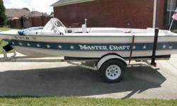 1975 classic Mastercraft Stars and Stripes ski boat. Absolutely excellent condition for age. Boat still runs great and looks good with original Mastercraft Trailer. Interior is in real good shape (8 out of 10 rating). Boat has been converted from amps to