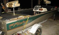 Fisher Dominator 17' aluminum Bass boat 1999 with 75 HORSEPOWER Mercury ELPT 1999, SS propeller, power tilt & trim, 140 compression on all three cylinders, & bow mount 43 pounds motor guide trolling engine, Garmin fish finder, super clean, trailer