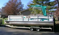 1998 24' Landau Poontoon Boat with 1999 25 HORSEPOWER Big Foot FourStroke motor. In very attractive shape. Runs well. Price also includes a 1997 Tandem Axle Bear Boat Trailer with 4 new tires (less than 100 mis). Please contact me @ 314-306-0046Listing