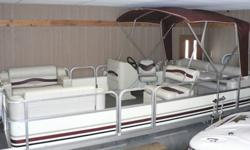 Fantastic shape, completely refurbished with new seats, carpet, console in 2012. Aluminum Crestliner Pontoon Boat, 20?, Ivory Burgandy, Tan. Aluminum, 8 person capacity, 8 ft beam, approx 1400 lbs. Bimini Top, Running Lights, Basic Console, Cup Holders,