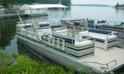 I have a 1988 24 foot pontoon boat that is in excellent condition. It has a 100 Hp Evinrude motor, bimini top, new captains chair, Kenwood Stereo with 4 speakers, live well, bilge pump, ladder. Carpet and pontoons are in excellent condition as well. There