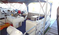 1997 HARRIS PONTOON BOAT 24 ft, 125hp Volvo, inboard, outboard, wrap around white & blue seats, docked at Painter Creek Marina, dock paid until Jan $6500 276-608-0102 .See item listed at http