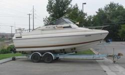 21.5 foot, 79 Bayliner Skagit, has 2 bedrooms, one is queen size, full galley w/ sink, stove, icebox, Head w/portable toilet, Dining area, will sleep up to 4 in front and 2 adults in back bedroom. Lots of storage, 260 MercCruiser, 350 Chevy V8, seperate