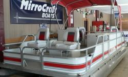 Sharp looking aluminum pontoon boat, great cosmetic shape and working condition. Refurbished in 2012 with new seats, upholstery, top, decals. Tubes, decking and panels in excellent condition. Fish and Cruise Style, Red, Charcoal, and Gray, 8? Beam, approx