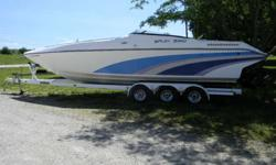 BAJA 320 POWERBOAT POWERED BY TWIN 502 V-8 ENGINES, MERCRUISER OUTDRIVES, THRU THE HAUL EXHAUST, COMES WITH TRAILER, BUT RUNS GREAT, HAS JUST BEEN SERVICED AND IS READY TO GO. WE WILL BE GETTING IT DETAILED ALSO BEFORE BUYER PICKS UP THE BOAT. IT DOES NOT