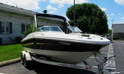 This boat is extra, extra clean and has been faithfully maintained. 4.3 Liter MerCruiser, V-6 engine Mercruiser Lower Cockpit cover Bimini Top Navigation Lights Swim Platform Sun Pad Stainless Steel CLeats Grab Handles Storage Areas Snap in Flooring CD