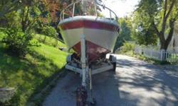 Twin 350 Mercruiser Engines. Boat was run at Summersville and Sutton lakes this summer. Beautiful boat, takes that waves effortlessly, cruises at 45 mph, corners on a rail, good teak wood good swim platform, boat needs some tlc as all boats do but overall
