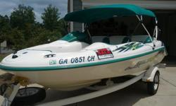 Includes:Bimini topMarine batteryFull length storage coverSingle axle trailer with 2 extra spare tiresSecurity encoded lanyardsBilge pump: automaticLED lightingVoltmeterBlowerGauge cluster containing RPM gauges for each engine, fuel and speed gauge 3