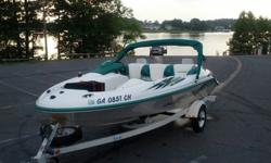 This 15 foot 2000 SEADOO CHALLENGER jet boat with trailer has dual Rotax jet engines for the ultimate lake experience. This boat is fast, clean, runs like a champ, seats 5, and tows water toys and skiers with ease. Fly through the waves, or jump over the