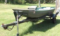 """Boat measures 14' long and has a 32"""" bottom and comes with one swivel seat. Includes a brand new Tongue Jack & Wench. No leaks, heavy-duty Dilly Trailer. Plenty of room for multiple fishers. Sale is Final, sold AS IS with no returns or refunds. I will"""