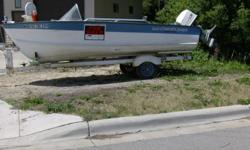 """AFFORDABLE boating for SAFE family """"FUN"""",fishing ect ! (NOT MY BOAT)MILES ? N/A !!!!!extra deep Aluminum V hull, with trailer ! 85 h Johnson, Had running last week, 6/5/12, New battery, lower drive rebuilt two years ago , drive oil drained & refilled"""