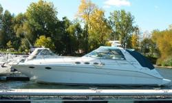 Type of Boat: Power BoatYear: 1997Make: Sea RayModel: 370 SundancerLength: 40.1Hours: 440Fuel Capacity: 275Fuel Type: GasEngine Model: Twin 340 V-driveSleeps how many: 6Number of A/C Units: 2Max Speed (Boat): 32Cruising Speed (Boat): 23Inboard / Outboard