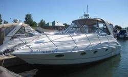 This is a beautifully maintained boat that has been taken care of over the years. You will get a fast solid ride with the twin 454 Mercruiser engines, with only 220 hours on them. Lots of seating(8-10 comfortably)for family and friends up top and plenty