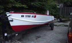 For Sale; 15' aluminum fishing boat with side console steering. Boat has three bench seats, and a locking storage locker under the bow. Motor is a 35 hp electric start johnson. Hull is in great shape, Very solid unit. Please call or e-mail Dave at or