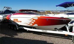 V-Hull, Open-Bow Mid-Cabin, 750+ HP Supercharged Teague 509 BB Chevy, Through Hull Header Exhaust, Bravo1/IMCO Drive w/ IMCO Standoff Box, IMCO Dual Ram Hydraulic External Steering, Drive Shower, 5 Blade SS Prop, Billet Hydraulic Trim Tabs w/ Indicators,