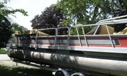 It has the 140 hp GM engine with an OMC sterndrive. I had the sterndrive completely overhauled by a local shop and have the tickets, I also installed a new power lift motor and rebuilt the lift clutch. We installed all new running lights and docking