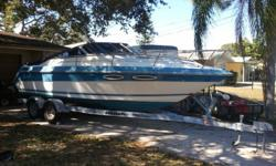 1988 24' Sea Ray Sorrento 24 Cuddy and Trailer. It has a 5.7 350 merc. , Depth finder, refreshment cabinet, boat cover, and bimini cover, small toilet, am/fm cd player with 4 speakers, tons of space and cabinets. Just got done with removing the oxidation