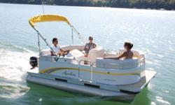 """Construction ¨ 14' Length - 7' wide ¨ Two - 23"""" pontoons ¨ Heavy duty 3"""" reinforced deck rail ¨ Heavy duty C-channel crossbeams ¨ Corner castings all four corners ¨ Extra heavy duty motor pod double bolted with 3/8"""" SST bolts attached to seven crossbeams"""